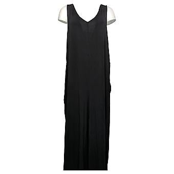 Enhver Kvinders Jumpsuit XLT Tall Strik Wide-Leg m / Back Tie Black A378004