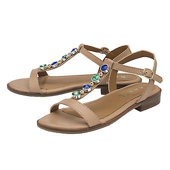 Ravel Kandos leather sandal with multi colour jewelled trims