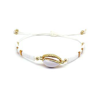 Boho betty wolfberry white shell & tila bead friendship bracelet