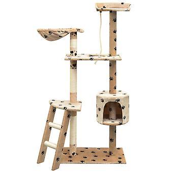 vidaXL Katzen-Kratzbaum Sisal 150 cm Beige mit Pfoten-Aufdruck