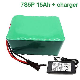 Battery With Charger 15ah 24v 25.9v Li-ion 18650 Rechargeable Electric Bicycle E-bike Ebike Accept Customization 7s5p 130x100x70mm