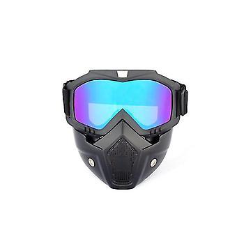 取り外し可能なフェイスマスクdt4837と青いオートバイのヘルメット