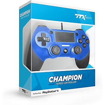 TTX Blue Champion Wired PS4 Controller