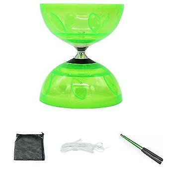 Triple Bearing Large Yoyo Diabolo Toy With Carbon Sticks(Green)