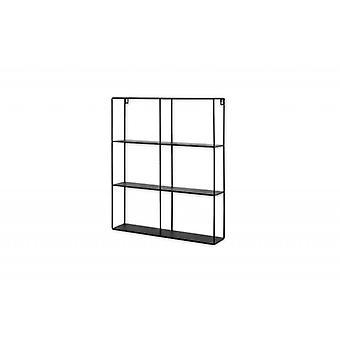 LIFA LIVING Wandregal aus schwarzem Metall , Schwebendes Industrial Wandregal mit 6 Fächern , Küchenregal Bücherregal Gewürzboard , 50 x 60 x 11 cm