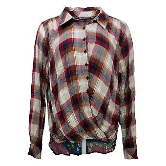 Tolani Collection Women's Top Reg Pullover Plaid Red A382635