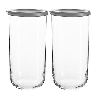 2x Duo Glass Storage Jar apilable Kitchen Container Silicone Lid 1.4 Litros Gris