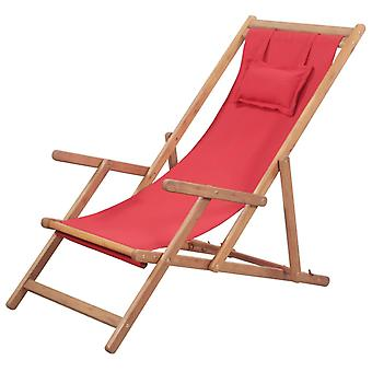 vidaXL Foldable beach chair fabric and wooden frame red