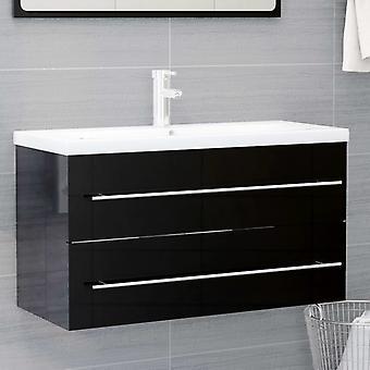 armadio base lavabo vidaXL nero lucido 90x38,5x48 cm