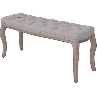 vidaXL مقاعد البدلاء الكتان الخشب الصلب 110 × 38 × 48 سم رمادي فاتح