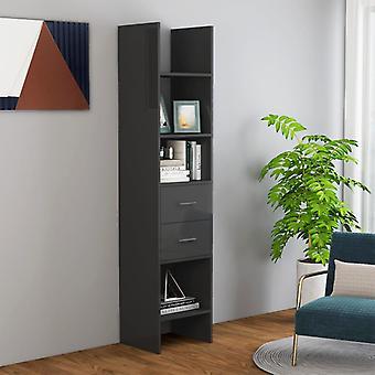 vidaXL Bücherregal Hochglanz-Grau 40x35x180 cm Spanplatte