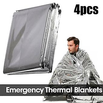 (4PCS) 1/4/8 Pcs Outdoor Survival Safety Insulating Heat Thermal Emergency Blankets,