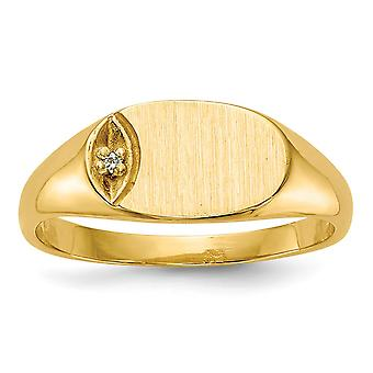 14k Yellow Gold Burnish Solid Back Engravable Polished and satin for boys or girls Diamond Signet Ring Size 4