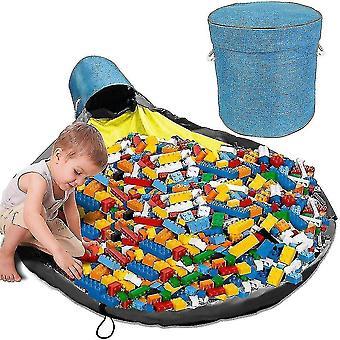 Organizador de almacenamiento de artículos de juegos y juego Estera Gran cesta de la cesta de actividad (azul)