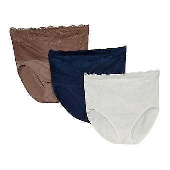 Rhonda Shear Panties 3-Pack Cotton Blend Ahh Lace Overlay White 679962