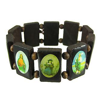 Bruin houten kraal religieuze scène Stretch armband