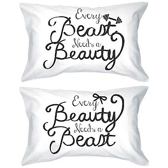 His and Hers Romantic Egyptian Cotton Pillowcases - Every Beauty Needs a Beast Matching Pillow Covers for Couples