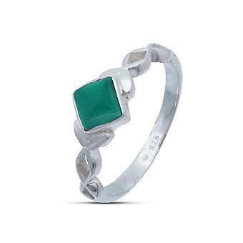 Ring Silver 925 Sterling Silver Green Onyx Green Stone (Nr: MRI 178)