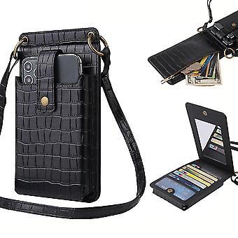 Frauen Krokodil Muster Telefon Geldbörse Kartenhalter Brieftasche Umhängetasche (Schwarz)