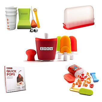 Zoku Ice Lolly pop maker kit - includes tools, accessories and recipe book