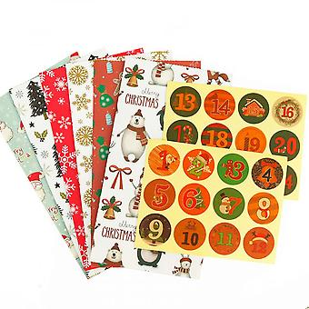 24 Sets Christmas Candy Gift Paper Bags Xmas Party Cookie Sweets Packaging Box