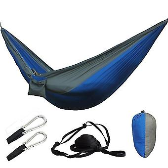 Hammocks blue grey color hiking camping hammock portable nylon safety parachute swing chair outdoor double