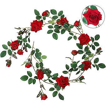 Rose Garland Franela Artificial Rose Romántica Decoración Banquete de Bodas Salón Ventana Decoración Rosa Roja