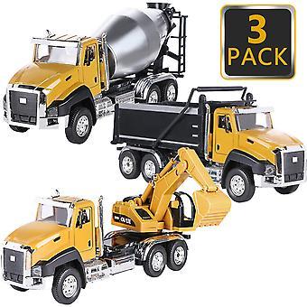 Diecast इंजीनियरिंग निर्माण वाहनों के 3 पैक वापस कार खिलौने खींचो