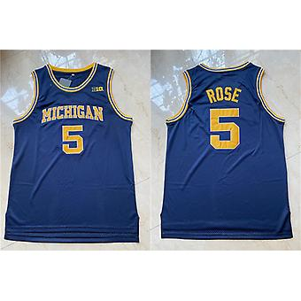 Men's Basketball Jersey #5 Rose Space Movie Jerseys 90s Hip Hop Stitched Clothing For Party Outdoor Sports T-shirt Blue S-xxl