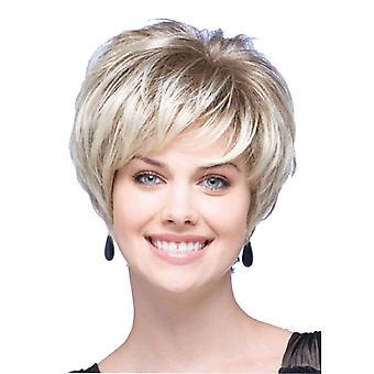 Pelucas de centro comercial de marca, pelucas de encaje, pelo corto esponjoso realista pelo liso peluca de personalidad dorada