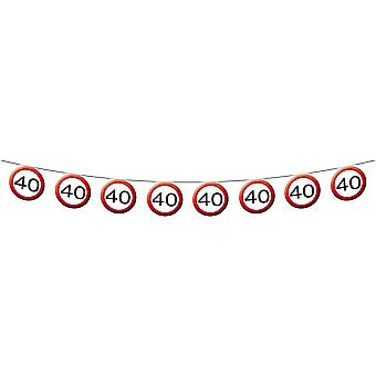 Panneau de signalisation de guirlande fanion numéro 40 anniversaire décoration