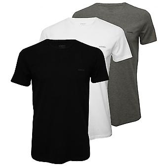 Diesel 3-Pack The Essential Crew-Neck T-Shirts, Black/White/Grey