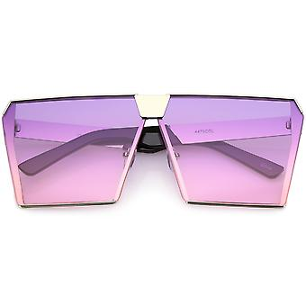 Modern Oversize Semi Rimless Square Sunglasses With Gradient Color Flat Lens 69mm