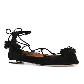 Aquazzura strappy ballerina shoes in black Suede leather