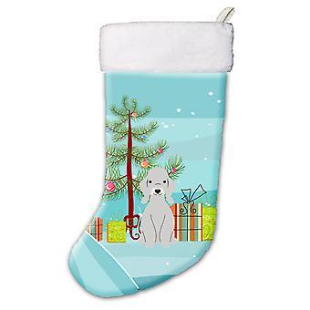Glædelig juletræ Bedlington Terrier blå Christmas strømpe