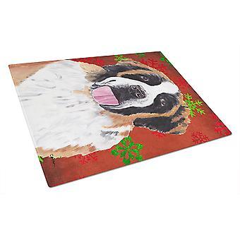 Saint Bernard rød og grøn snefnug jul glas skærebræt stor