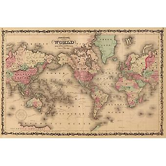 Old World Map Poster Poster Print