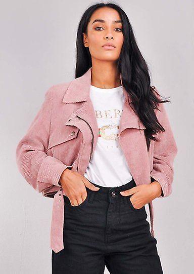 Kordfløyel beskjæres Biker jakke rosa