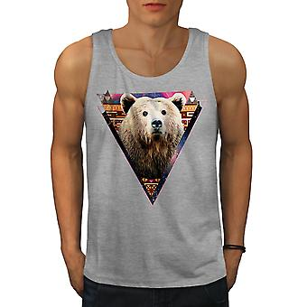 Bear Face Novelty Animal Men GreyTank Top | Wellcoda