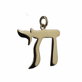 9ct Gold 27x25mm Hebräisch Chai das Wort für Leben Anhänger oder Charm