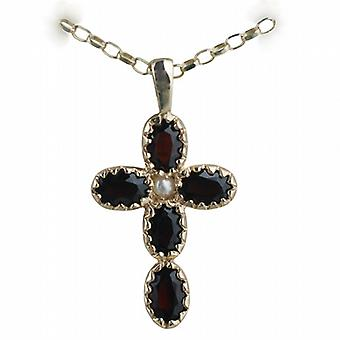 9ct Gold 25x16mm Kreuz set mit 5 Granat und 1 Perle auf eine Belcher Kette 24 Zoll