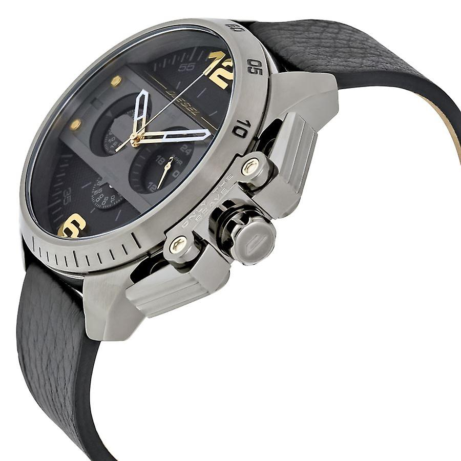 Diesel Mens Oversize Ironside Chronograph Watch cuir noir bracelet DZ4386