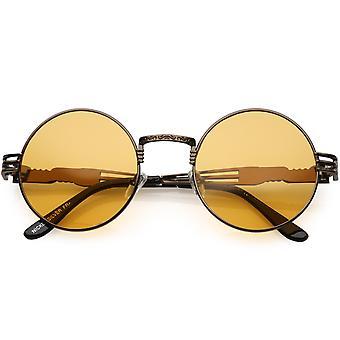Oversize ronde zonnebril gegraveerd metalen Arm knipsel kleur getint Lens 53mm