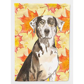 Fall Leaves Catahoula Leopard Dog Flag Canvas House Size