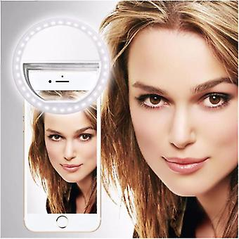 For Samsung Galaxy J7 Duo - Clip on Selfie Ring 36 LED Light Round Shape Adjustable 3 Brightness Levels (White) by i-Tronixs