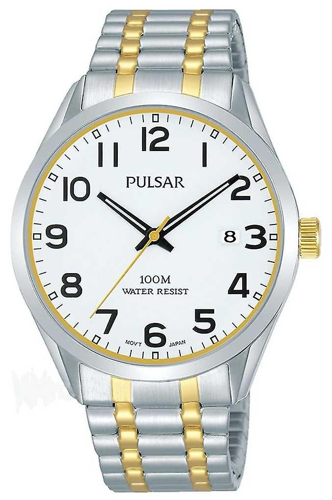Pulsar Mens | Stainless Steel Two Tone Bracelet | White Dial | PS9565X1 Watch