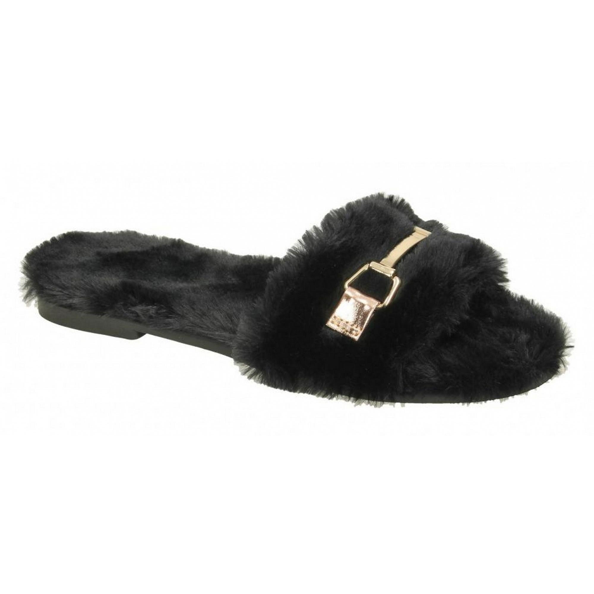 Spot On Womens/ladies Flat Faux Fur Mule Sliders