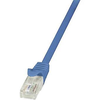 LogiLink RJ45 Ağlar Kablo CAT 6 U/UTP 25.00 cm Mavi dahil.