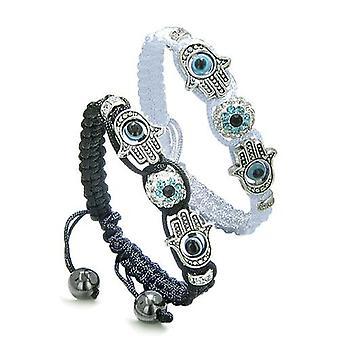 Magic Evil Eye Protection Love Couple or Best Friends Hamsa Hands Amulet Set Black White Bracelets