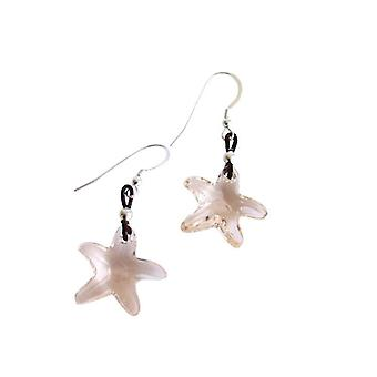 Ladies earrings Starfish * silk * 925 Silver cream MADE WITH SWAROVSKI ELEMENTS® 2 cm